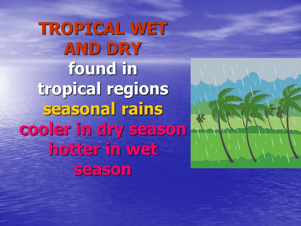 TROPICAL WET AND DRY found in tropical regions seasonal rains cooler in dry season hotter in wet season