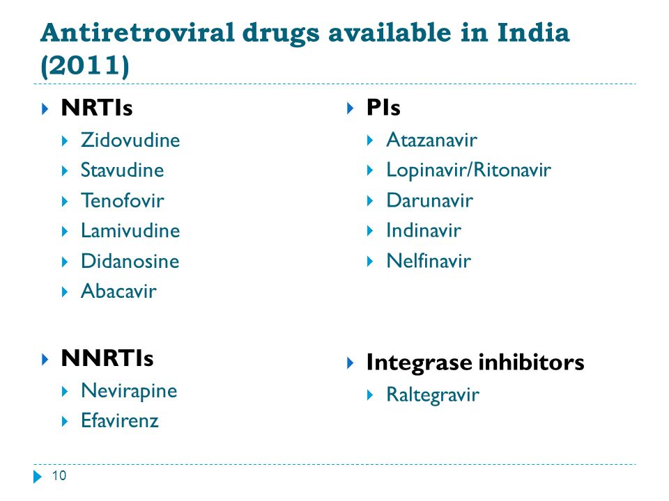 Antiretroviral drugs available in India (2011)