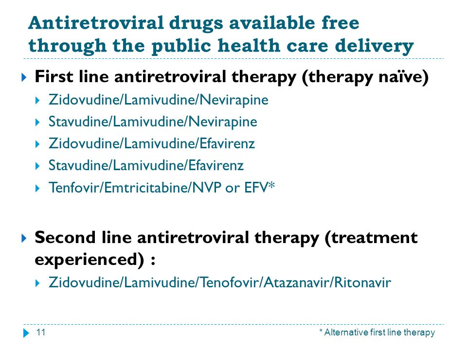 Antiretroviral drugs available free through the public health care delivery