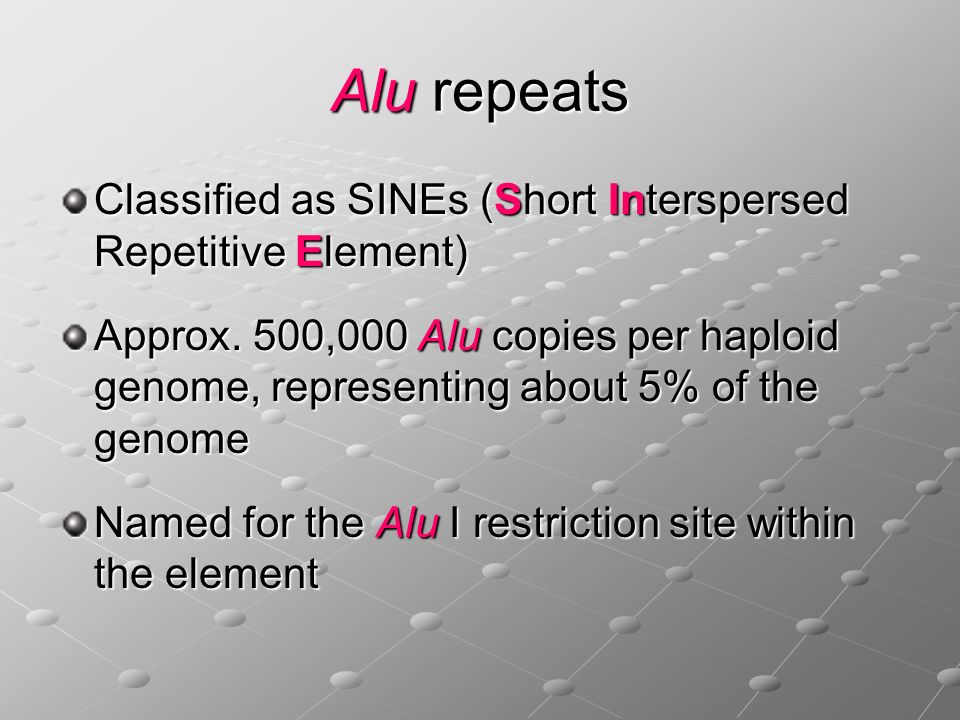 Alu repeats Classified as SINEs (Short Interspersed Repetitive Element)