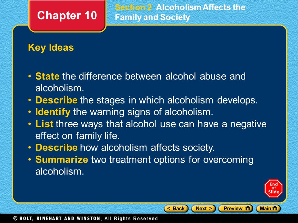 Section 2 Alcoholism Affects the Family and Society
