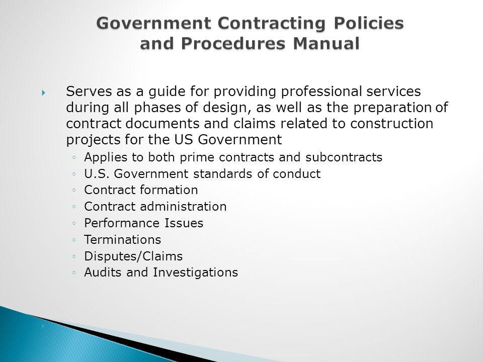 Dispute between contractor and subcontractor user manuals government contracting policies and procedures manual compliance and ethics training overview ppt video online download fandeluxe Choice Image