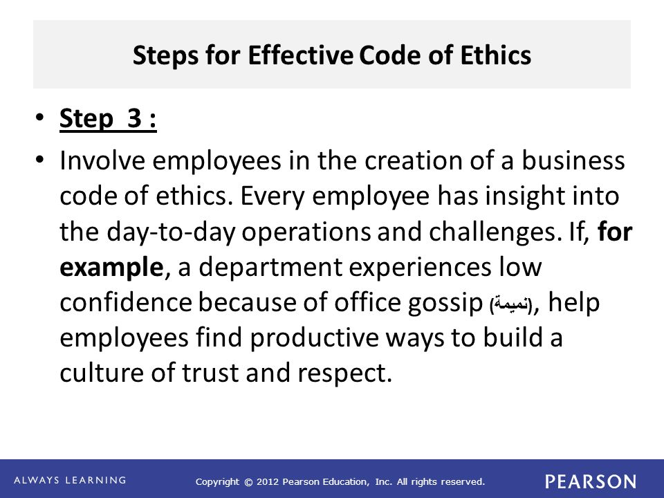 Business ethics and code of ethics ppt video online download steps for effective code of ethics accmission Gallery