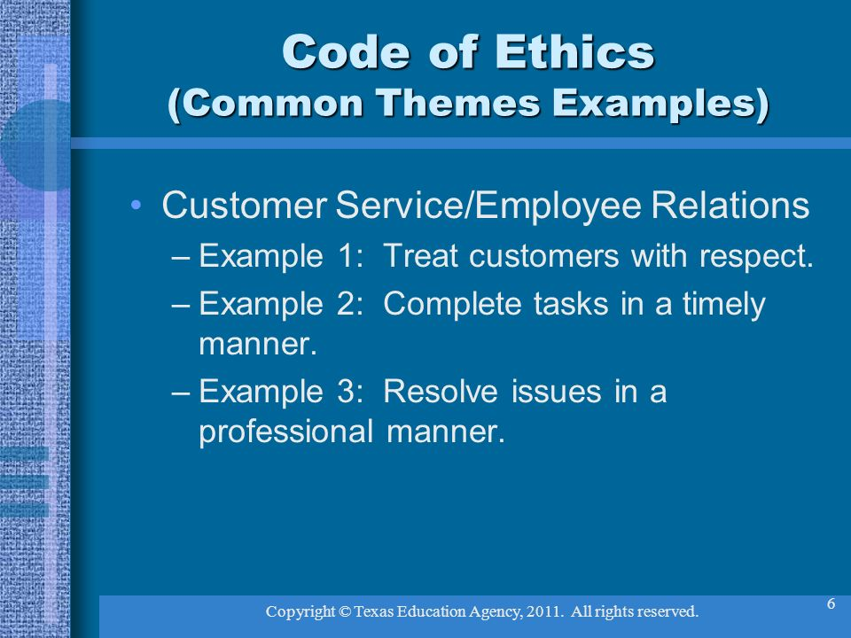 Code of ethics for teachers.