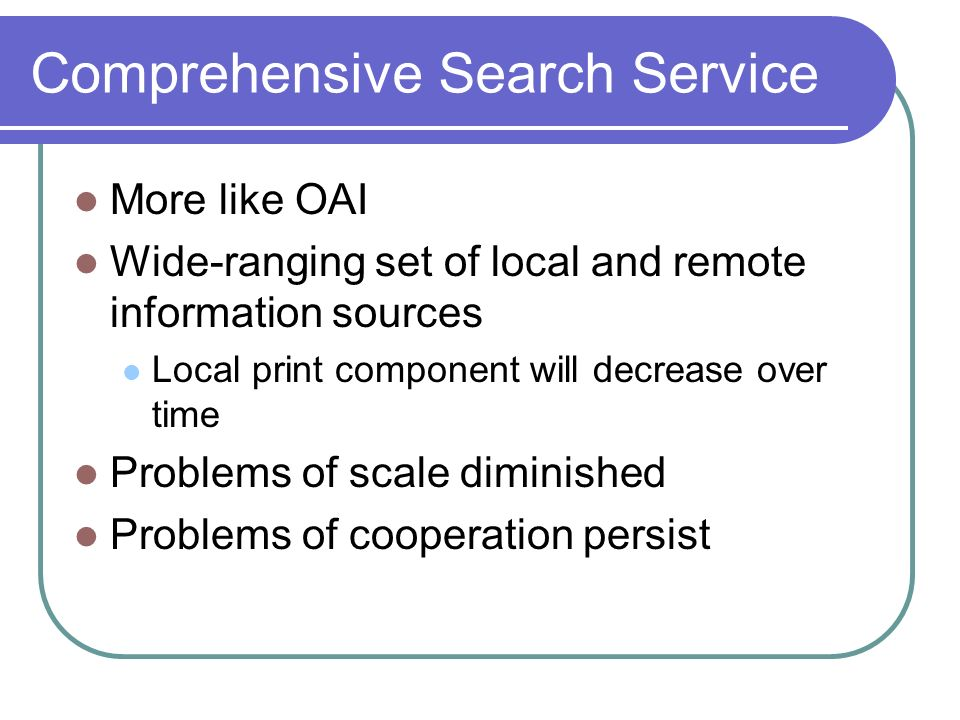 Comprehensive Search Service