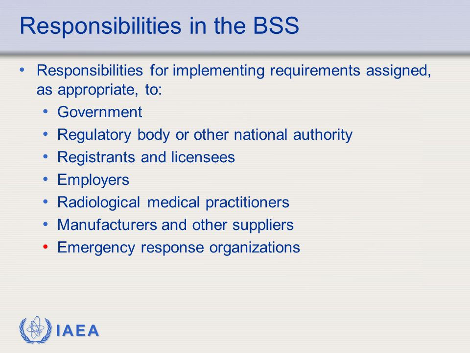 Responsibilities in the BSS