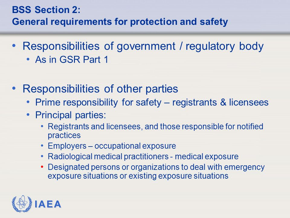 BSS Section 2: General requirements for protection and safety