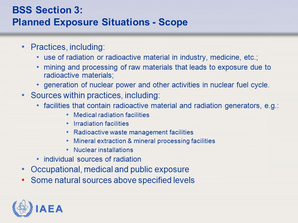 BSS Section 3: Planned Exposure Situations - Scope