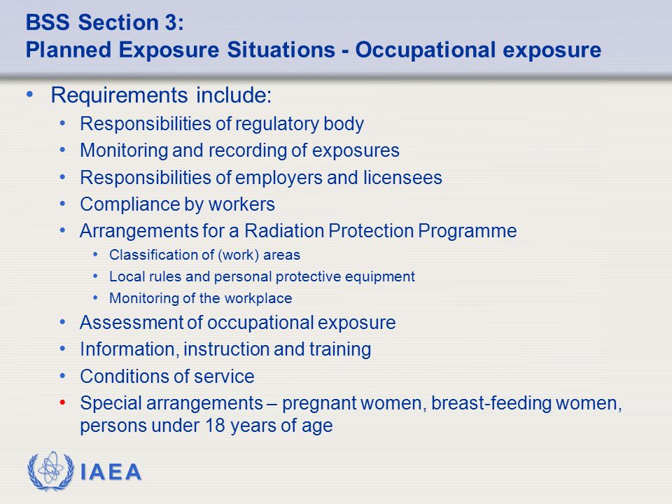 BSS Section 3: Planned Exposure Situations - Occupational exposure