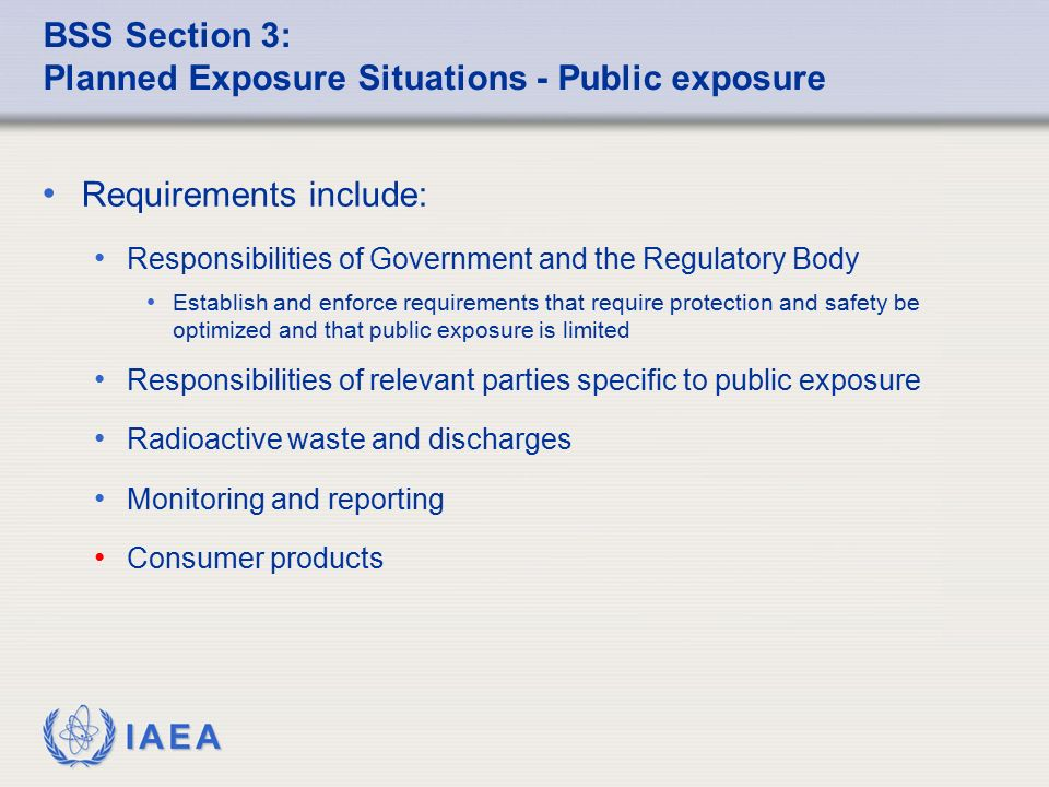 BSS Section 3: Planned Exposure Situations - Public exposure
