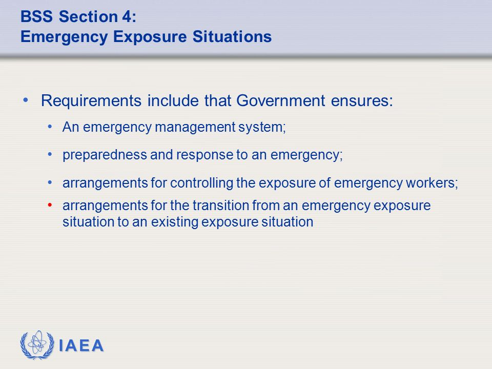 BSS Section 4: Emergency Exposure Situations