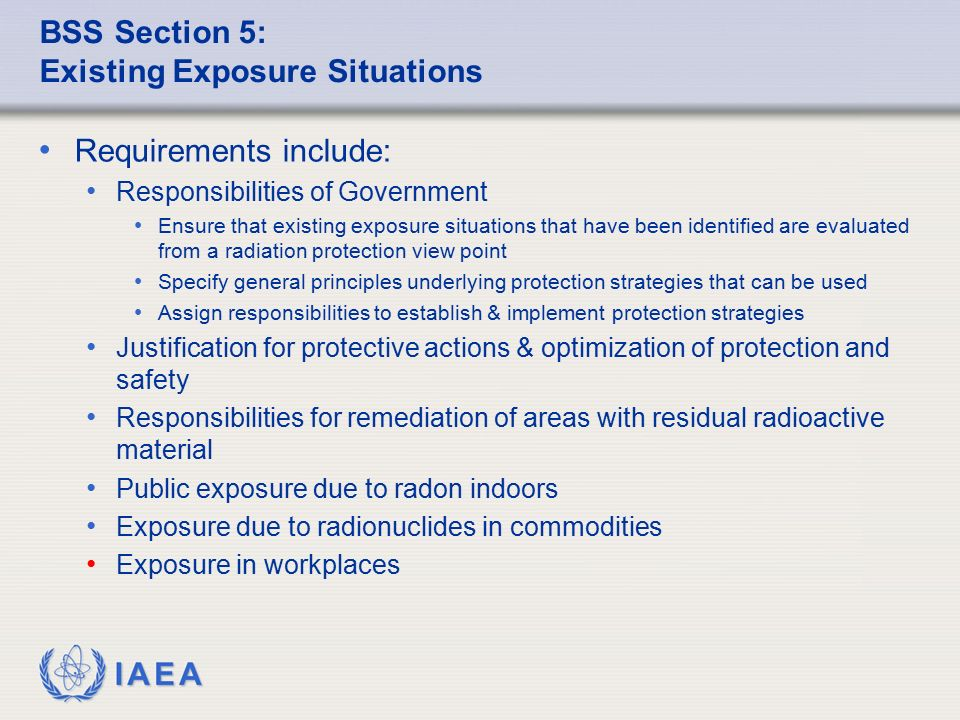 BSS Section 5: Existing Exposure Situations