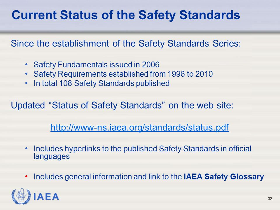 Current Status of the Safety Standards