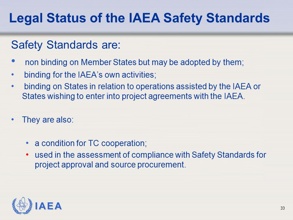 Legal Status of the IAEA Safety Standards