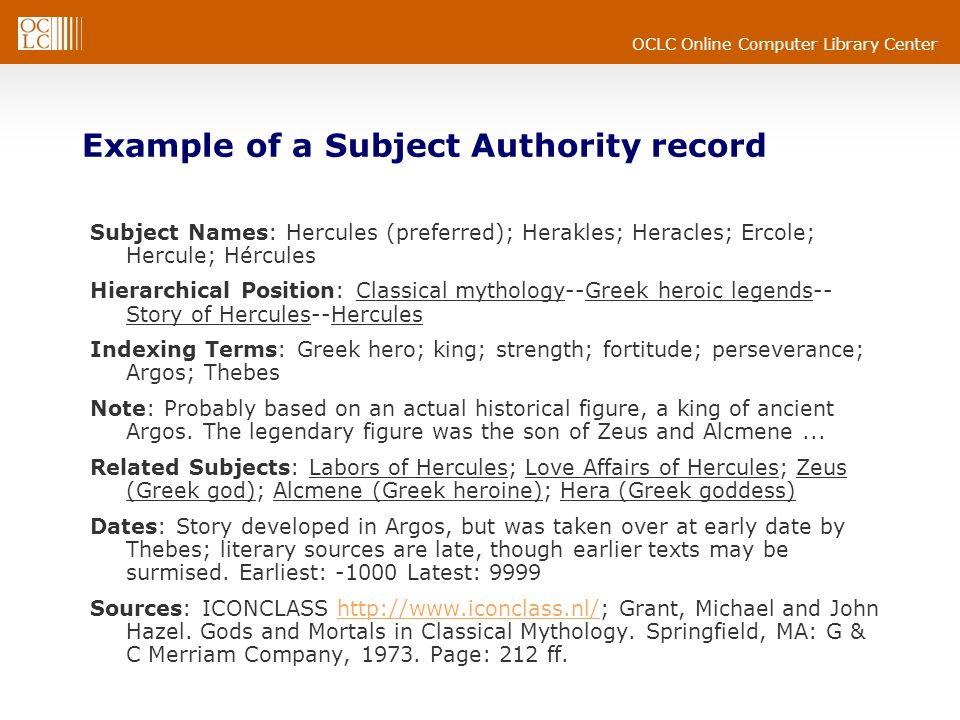 Example of a Subject Authority record