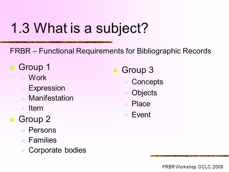 1.3 What is a subject Group 1 Group 3 Group 2