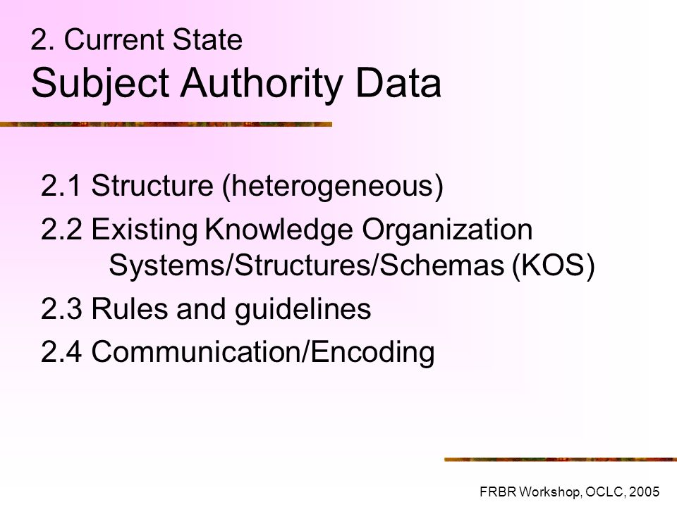 2. Current State Subject Authority Data