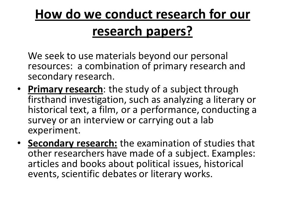 how to conduct research for a research paper