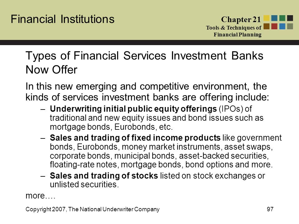 what are the types of financial services