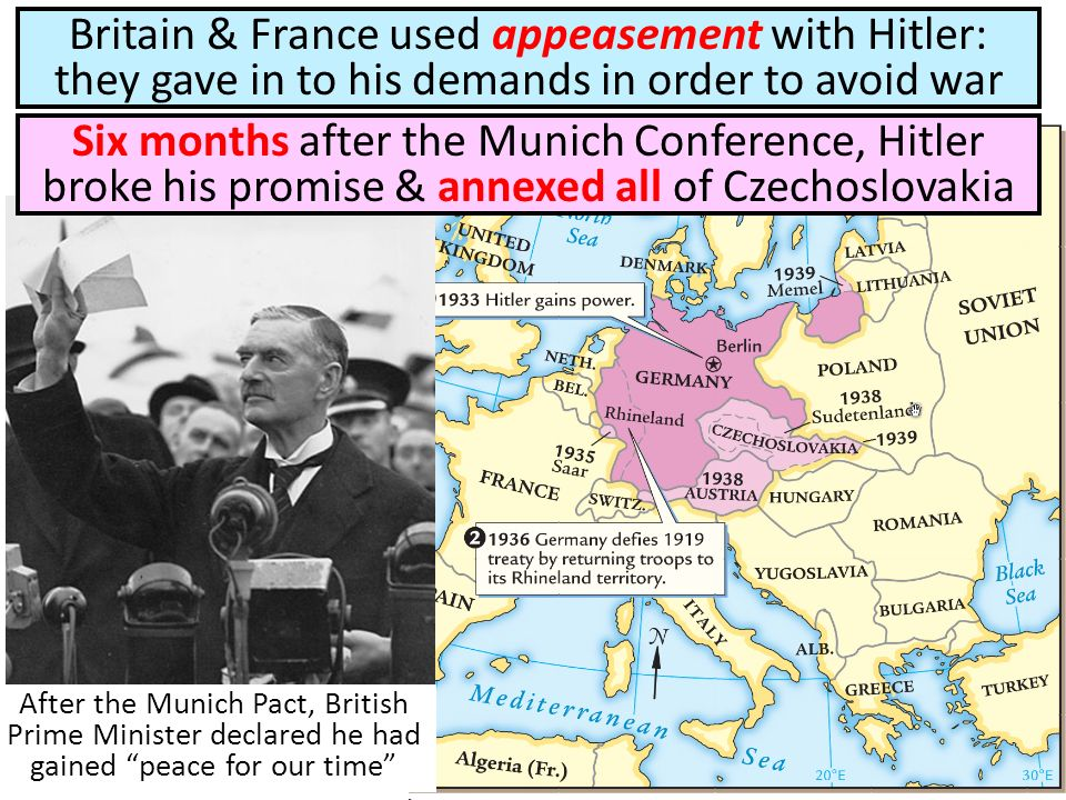 Britain & France used appeasement with Hitler: they gave in to his demands in order to avoid war