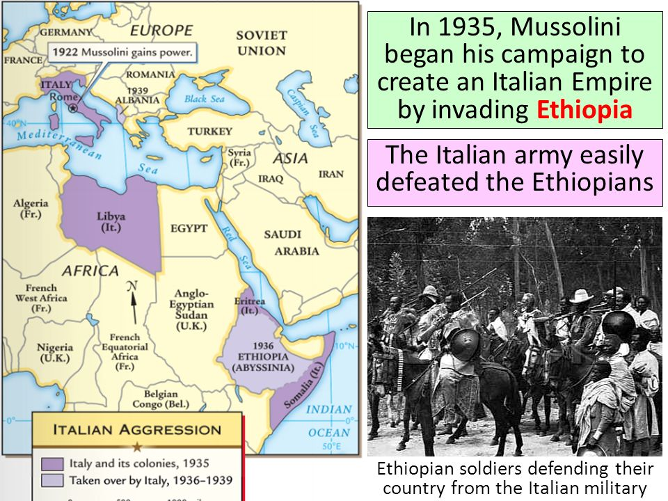 The Italian army easily defeated the Ethiopians