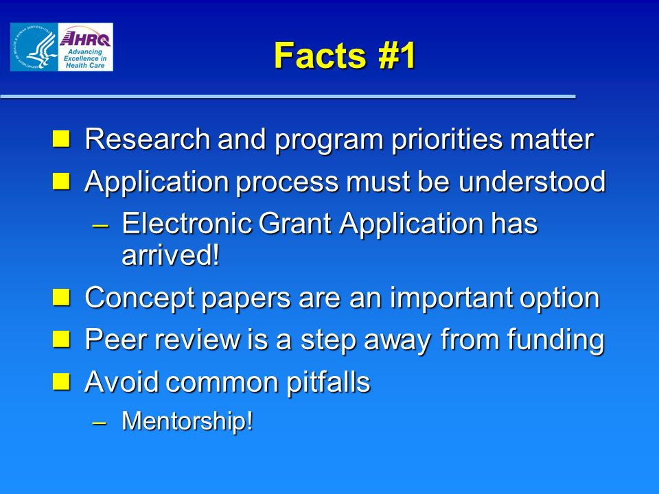 Facts #1 Research and program priorities matter