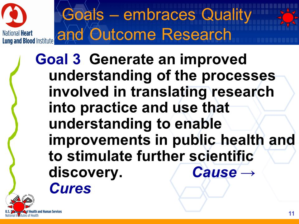 Goals – embraces Quality and Outcome Research