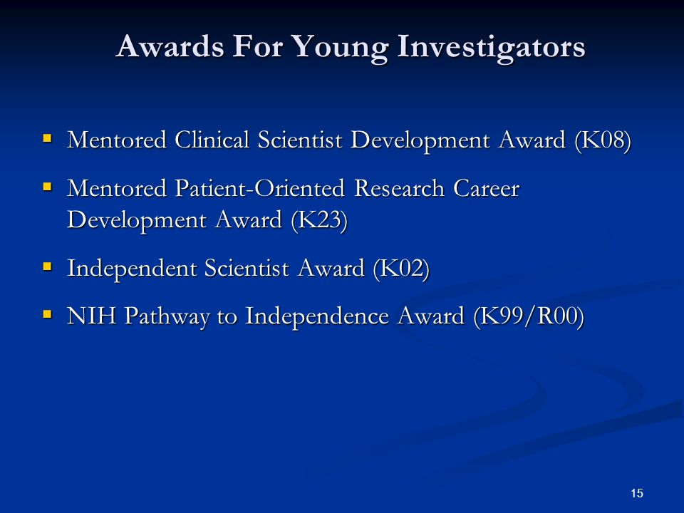 Awards For Young Investigators