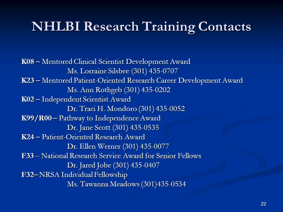NHLBI Research Training Contacts