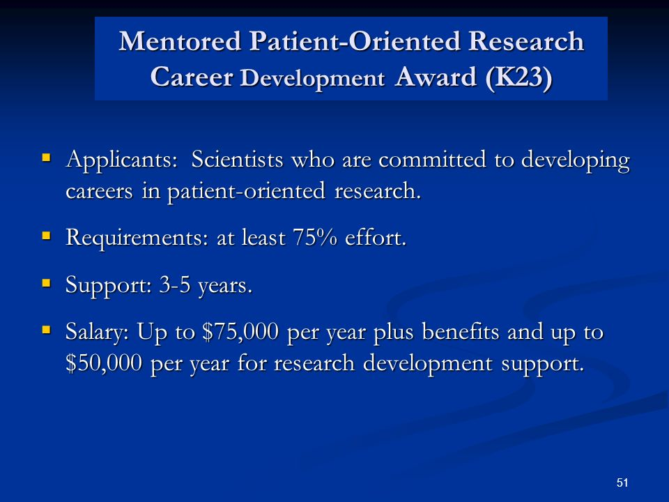 Mentored Patient-Oriented Research Career Development Award (K23)