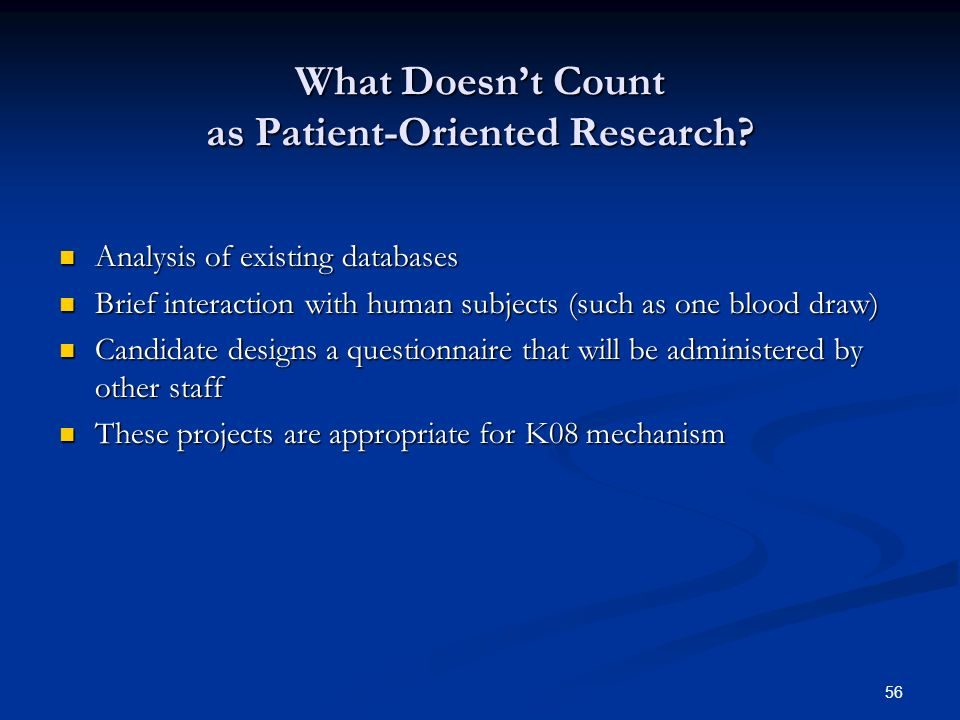 What Doesn't Count as Patient-Oriented Research