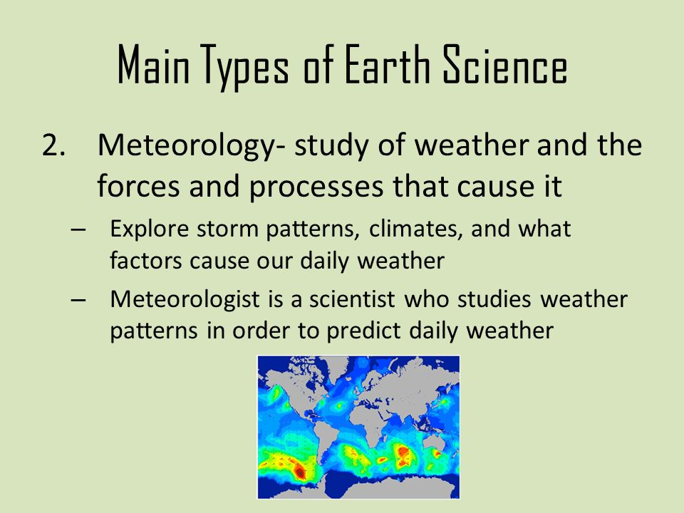Main Types Of Earth Science