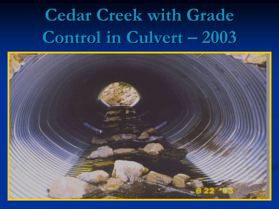 Cedar Creek with Grade Control in Culvert – 2003