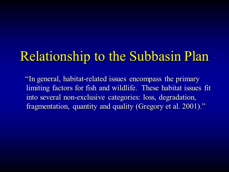 Relationship to the Subbasin Plan