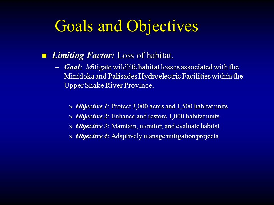 Goals and Objectives Limiting Factor: Loss of habitat.