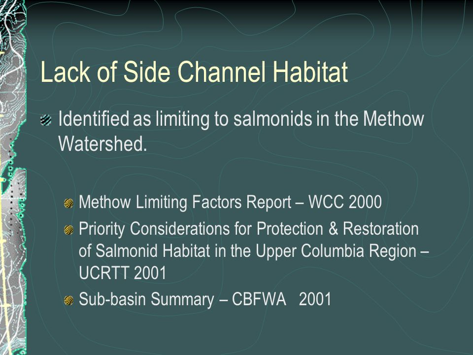Lack of Side Channel Habitat