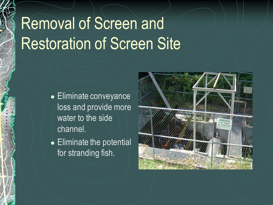 Removal of Screen and Restoration of Screen Site
