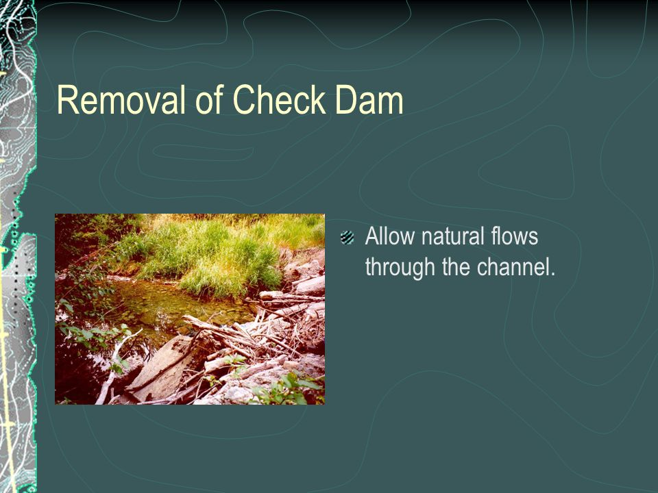 Removal of Check Dam Allow natural flows through the channel.