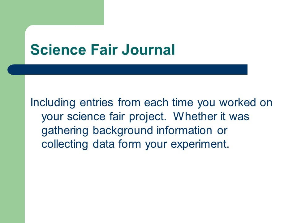Science Fair Journal