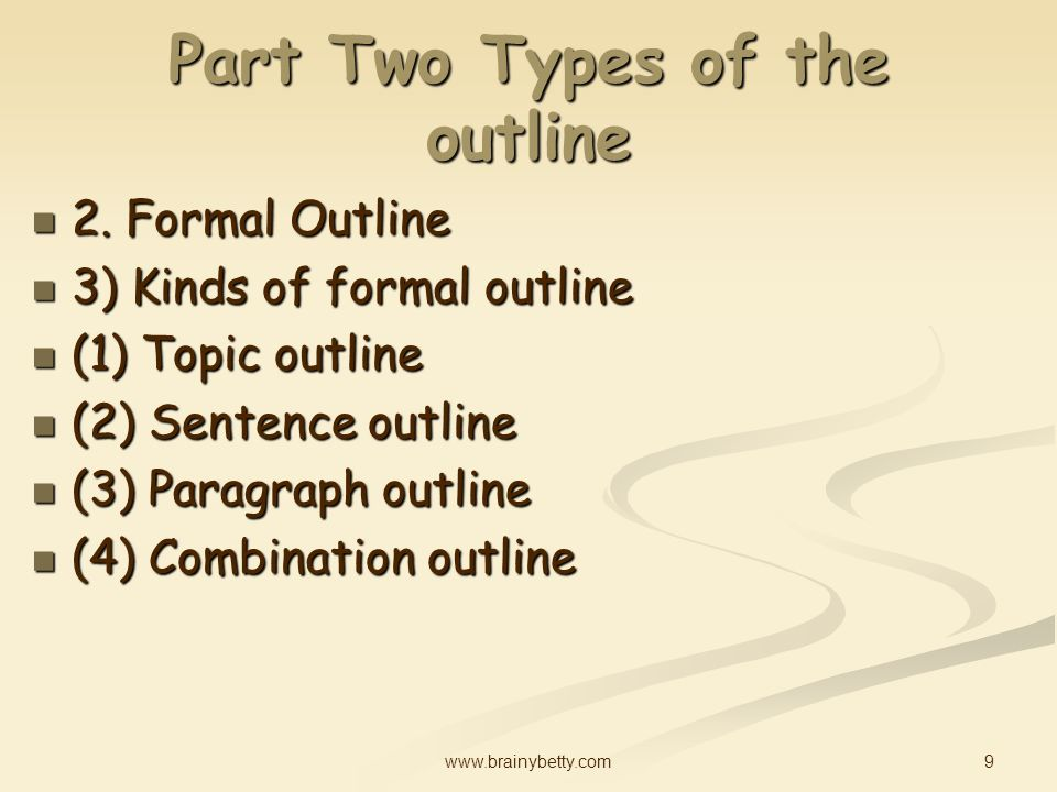 kinds of outline