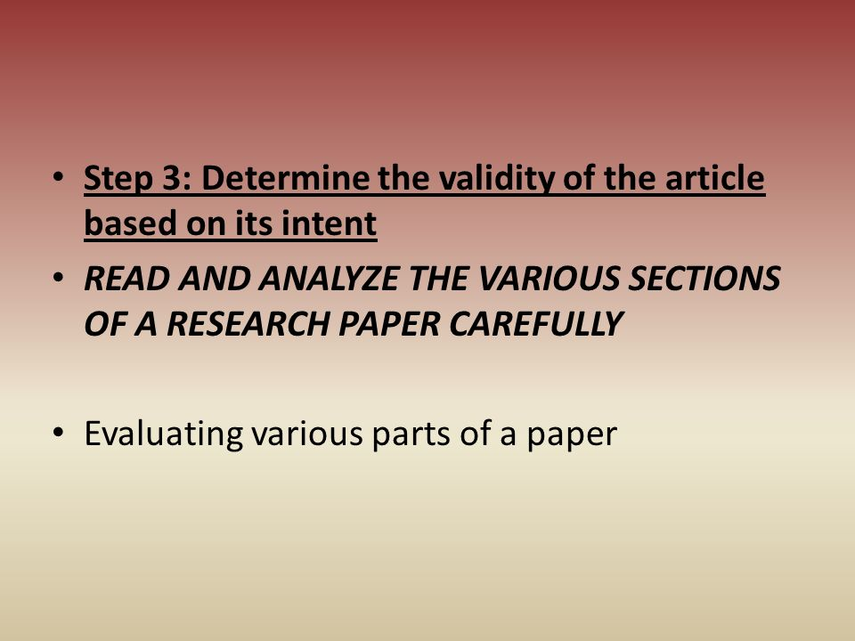 Step 3: Determine the validity of the article based on its intent