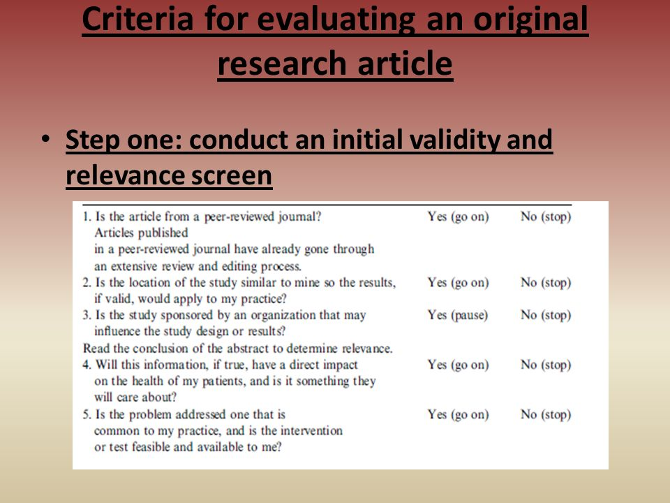 Criteria for evaluating an original research article