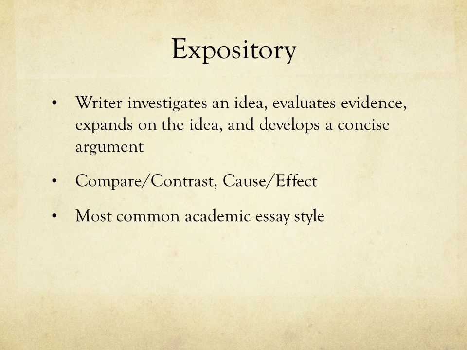 Expository Writer investigates an idea, evaluates evidence, expands on the idea, and develops a concise argument.