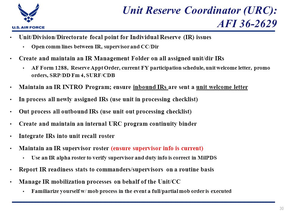 Initial Unit Reserve Coordinator Supervisor Training Ppt Download