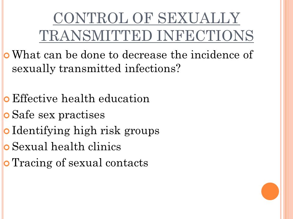 Control sexually transmitted infections