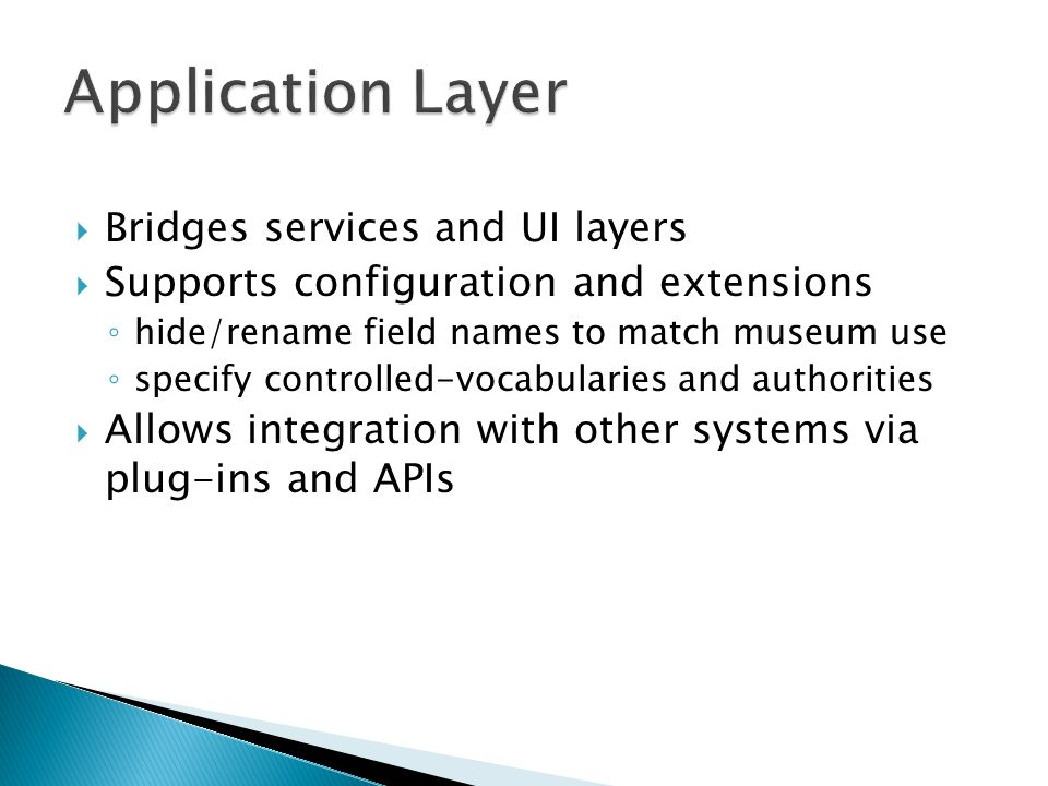 Application Layer Bridges services and UI layers