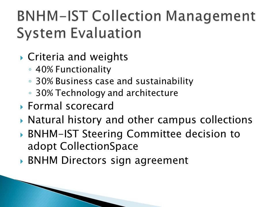 BNHM-IST Collection Management System Evaluation