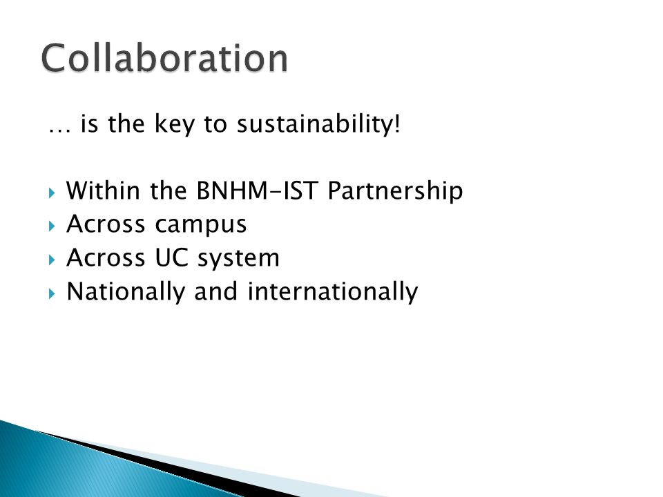Collaboration … is the key to sustainability!