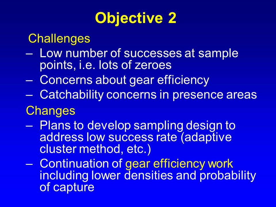 Objective 2 Challenges. Low number of successes at sample points, i.e. lots of zeroes. Concerns about gear efficiency.