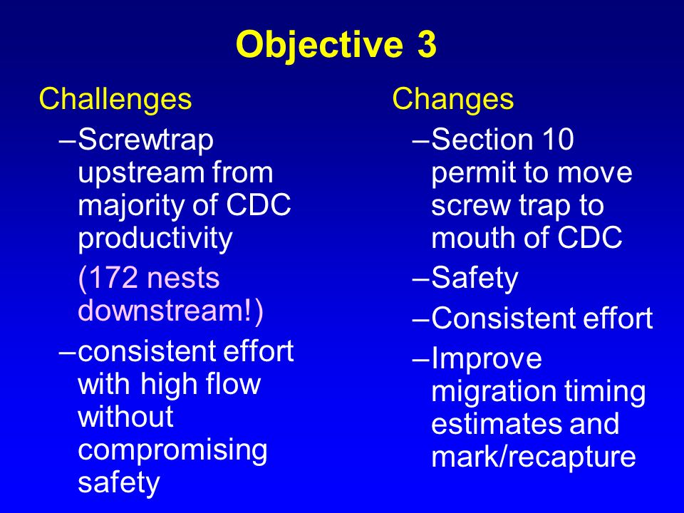 Objective 3 Screwtrap upstream from majority of CDC productivity